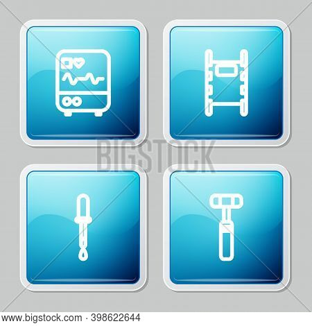 Set Line Monitor With Cardiogram, Stretcher, Pipette And Neurology Reflex Hammer Icon. Vector
