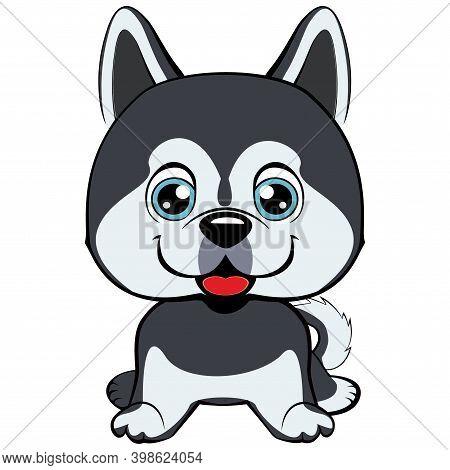 Vector Dog Alaskan Kli Kai Breed Sitting Icon Flat Design