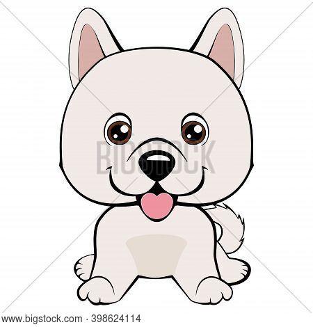 Cartoon Illustration Of Funny Purebred Eskimo Dog Or Spitz