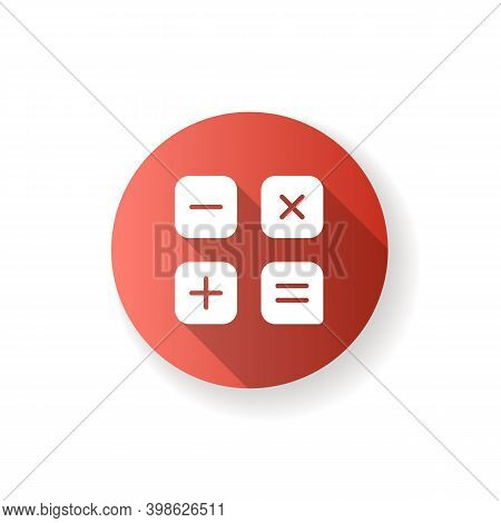 Calculator App Red Flat Design Long Shadow Glyph Icon. Arithmetic Operations. Performing Calculation