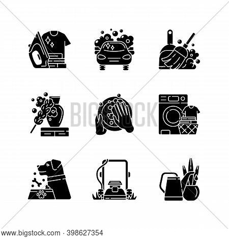 Cleaning Chores Black Glyph Icons Set On White Space. Housekeeping Tasks Silhouette Symbols. Housema