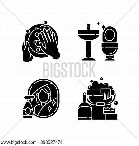 Housewife Chores Black Glyph Icons Set On White Space. Dish Washing, Toilet Cleanup, Mirror Washing