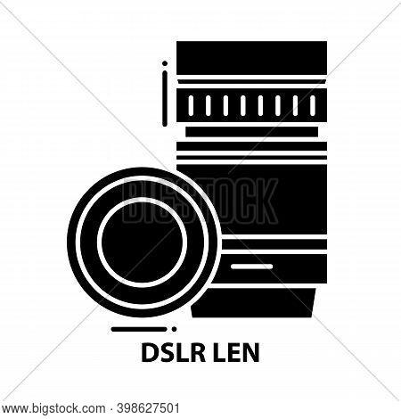 Dslr Len Icon, Black Vector Sign With Editable Strokes, Concept Illustration