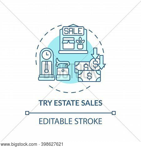 Trying Estate Sales Concept Icon. Tag Sales Idea Thin Line Illustration. Shopping Tip. Finding Barga
