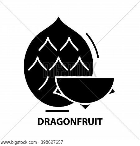 Dragonfruit Icon, Black Vector Sign With Editable Strokes, Concept Illustration