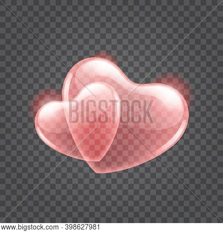Two Red Shiny Hearts Shape Isolated On Transparent Background
