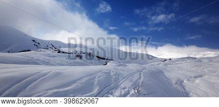Snowy Off-piste Slope In High Winter Mountains. Caucasus Mountains, Georgia, Region Gudauri. Panoram