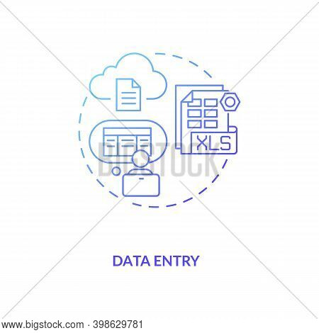 Data Entry Blue Gradient Concept Icon. Information Manual Input To Document. Employee At Computer. V