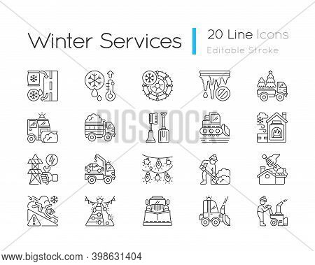 Snow Removing Services Linear Icons Set. Clearing City After Strong Snowfall. Plow Truck Company. Cu