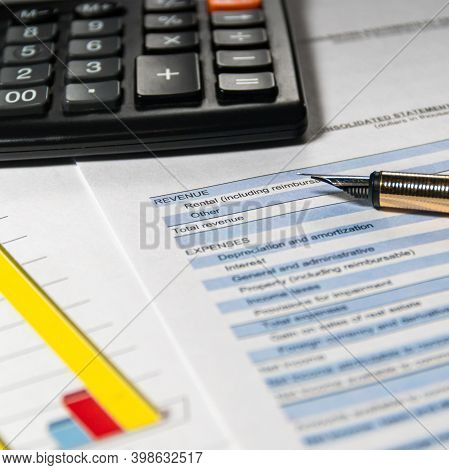 Accounting Report And Financial Statement On Desk. Accounting Business Plan Concept