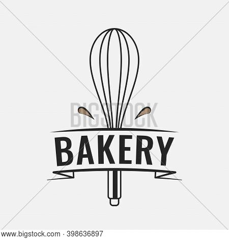 Bakery Logo With Whisk For Baking On White