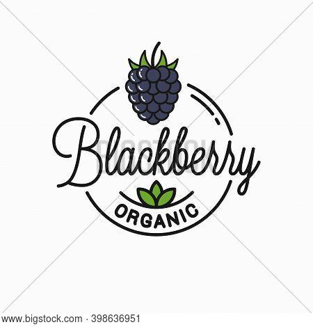 Blackberry Logo. Round Linear Logo Of Organic