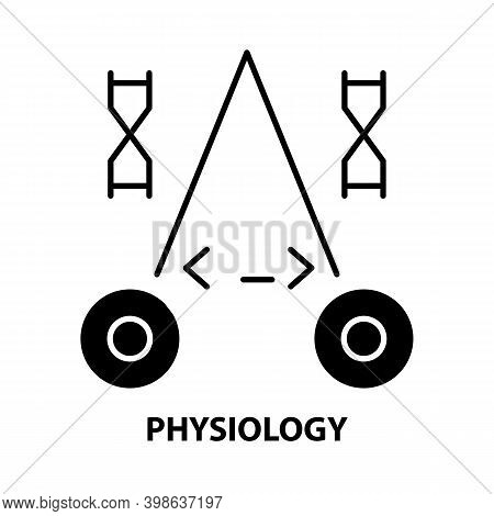 Physiology Icon, Black Vector Sign With Editable Strokes, Concept Illustration