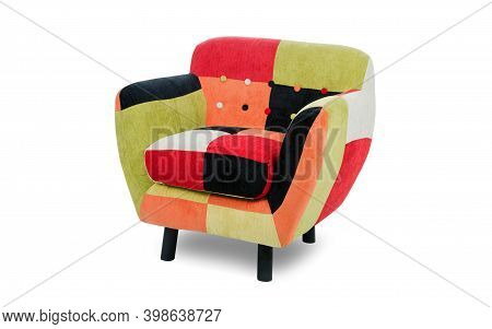 Patchwork Colorful Armchair Isolated On White Background