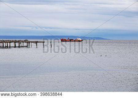 Punta Arenas, Patagonia, Chile - 21 Dec 2019: Old Wharf In The Harbor Of Punta Arenas, Patagonia, Ch