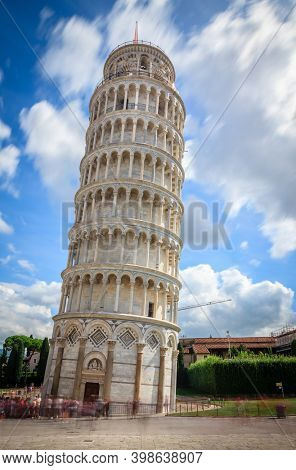 Daytime long exposure image of the famous leaning tower of Pisa (the Campanile)