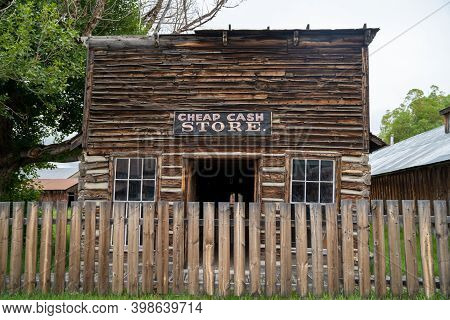 Nevada City, Montana - June 29, 2020: The Cheap Cash Store, An Abandoned Building In The Ghost Town