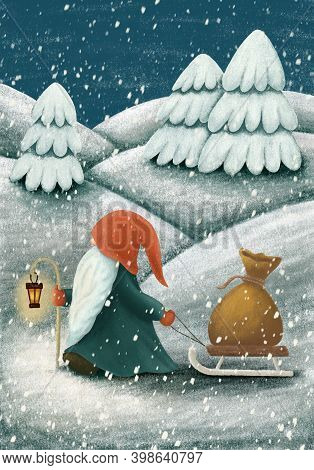 Scandinavian Gnome With Alight Lantern Carrying Bag Of Gifts On The Sleigh. Nordic Folklore Elf, Nis