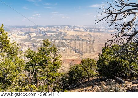 Hazy Canyon View At Dinosaur National Monument. Poor Air Quality And Pollution In The Area