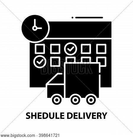 Shedule Delivery Icon, Black Vector Sign With Editable Strokes, Concept Illustration