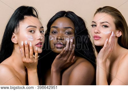 Beauty Photo Of Three Pretty Smilng Multiracial Women With Different Types Of Skin, Caucasian, Afric