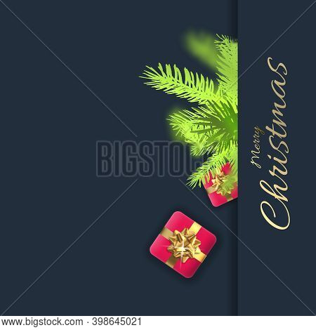Creative Beautiful Abstract Christmas Holiday Background With Pink 3d Xmas Gift Boxes And Xmas Fir O