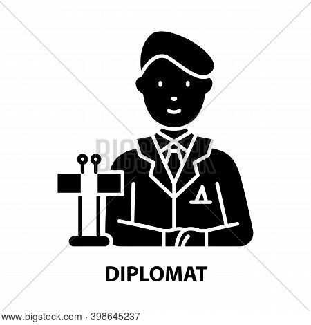 Diplomat Icon, Black Vector Sign With Editable Strokes, Concept Illustration