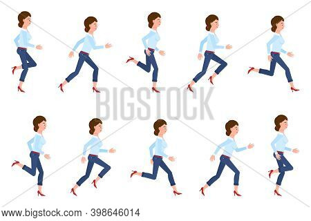 Young, Adult Woman Wearing Jeans Running Sequence Poses Vector Illustration Set. Fast Moving Forward
