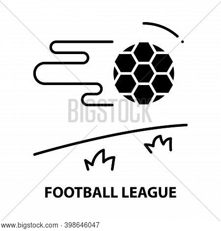 Football League Icon, Black Vector Sign With Editable Strokes, Concept Illustration