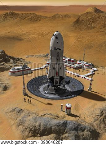 Human Settlement Base On Planet Mars With A Rocket Launch Pad And A View Over The Red Planet, 3d Ren