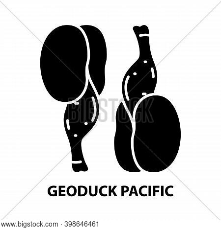 Geoduck Pacific Icon, Black Vector Sign With Editable Strokes, Concept Illustration