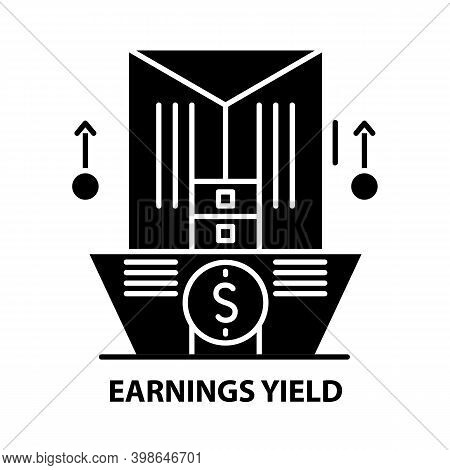 Earnings Yield Icon, Black Vector Sign With Editable Strokes, Concept Illustration