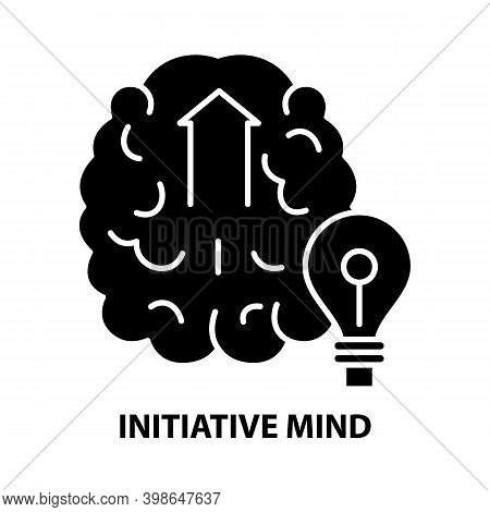 Initiative Mind Icon, Black Vector Sign With Editable Strokes, Concept Illustration