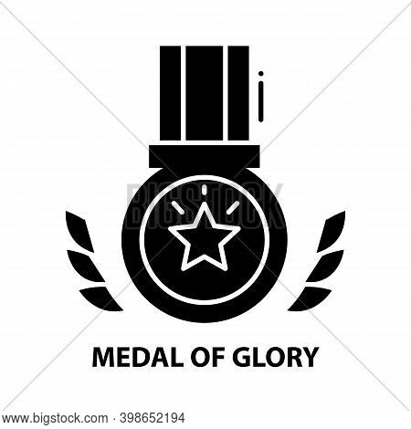 Medal Of Glory Icon, Black Vector Sign With Editable Strokes, Concept Illustration