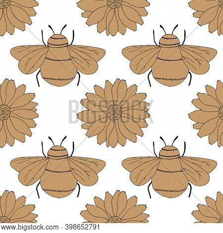 Seamless Pattern In Monochrome Colors With Flowers And Insects, Wrapping Paper, Wallpaper Ornament,