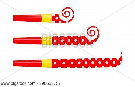 Rolled And Unrolled Party Blowers, Horns, Noise Makers, Sound Whistles Isolated On White Background.