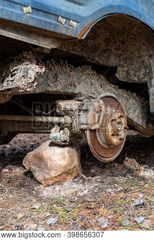 Close-up Car With Missing Wheels Stolen Car Wheel Pollution And Crime Problem Conversation Vintage R