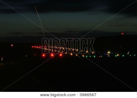 Runway Lights With Plane