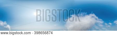 Seamless Panorama Of Sky With Light Clouds In Spherical Equirectangular Format With Complete Zenith