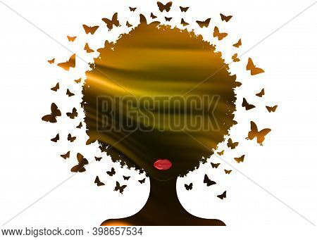 Beautiful African Woman, Gold Sunset, Swarm Of Butterflies Headdress In Curly Coiffed. Logo Silhouet