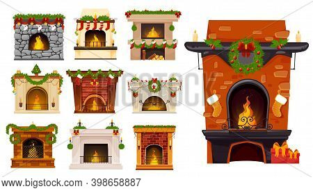 Christmas Fireplace Cartoon Vector Set Of Xmas Holiday Fire Places With Christmas Tree Wreaths, Sant