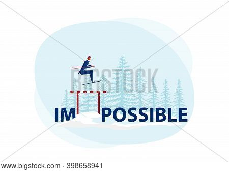 Businessman Use Sky Jumping Over Impossible Word To Possible On Snow Background. Symbol Of Determina