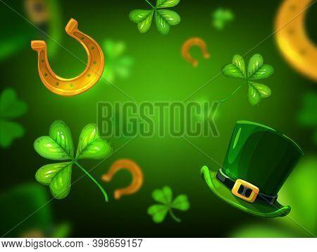 St Patricks Day Vector Background Of Irish Holiday Green Clover Or Shamrock Leaves, Luck Golden Hors
