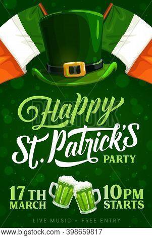St Patrick Day Party Vector Invitation Poster With Ireland Flags, Leprechaun Hat With Golden Buckle