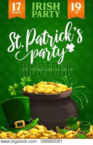 St. Patricks Day Party Vector Flyer Or Poster Of Irish Religion Holiday. Leprechaun Treasure Pot Wit