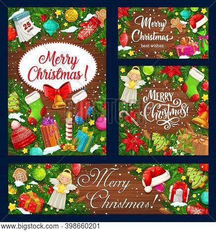 Christmas Tree Wreaths With Xmas Gifts On Wooden Background, Winter Holidays Vector Design. Xmas Bel