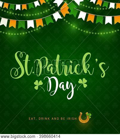 St Patrick Day Irish Traditional Holiday, Vector Poster With Shamrock Clover Pattern On Green Backgr