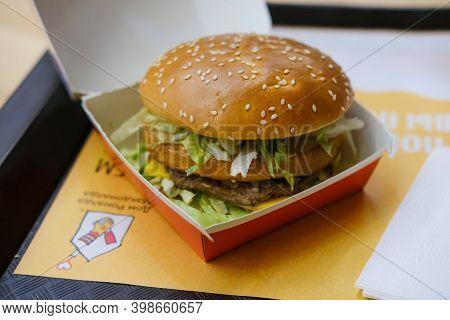 Mcdonalds Big Mac Burger In Fast Food Area Of Mall
