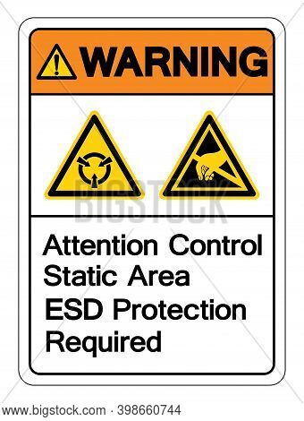 Warning Attention Static Control Area Esd Protection Required Symbol Sign, Vector Illustration, Isol