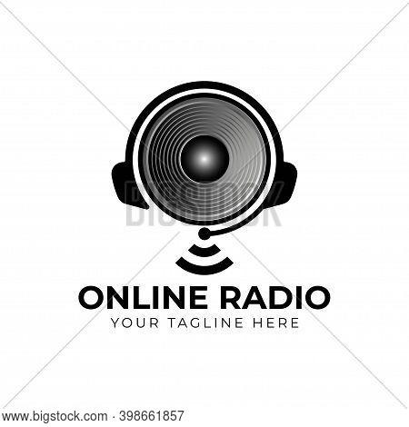 Online Radio Logo Design Using Sound Speaker And Headphone Icon